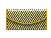 carbon fiber yellow wallet